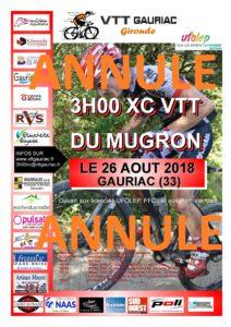 ANNULATION DES 3H00 VTT XC DU MUGRON DU DIMANCHE 26 AOÛT