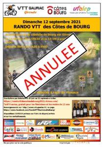 LA RANDONNEE VTT DES CÔTES DE BOURG ANNULEE